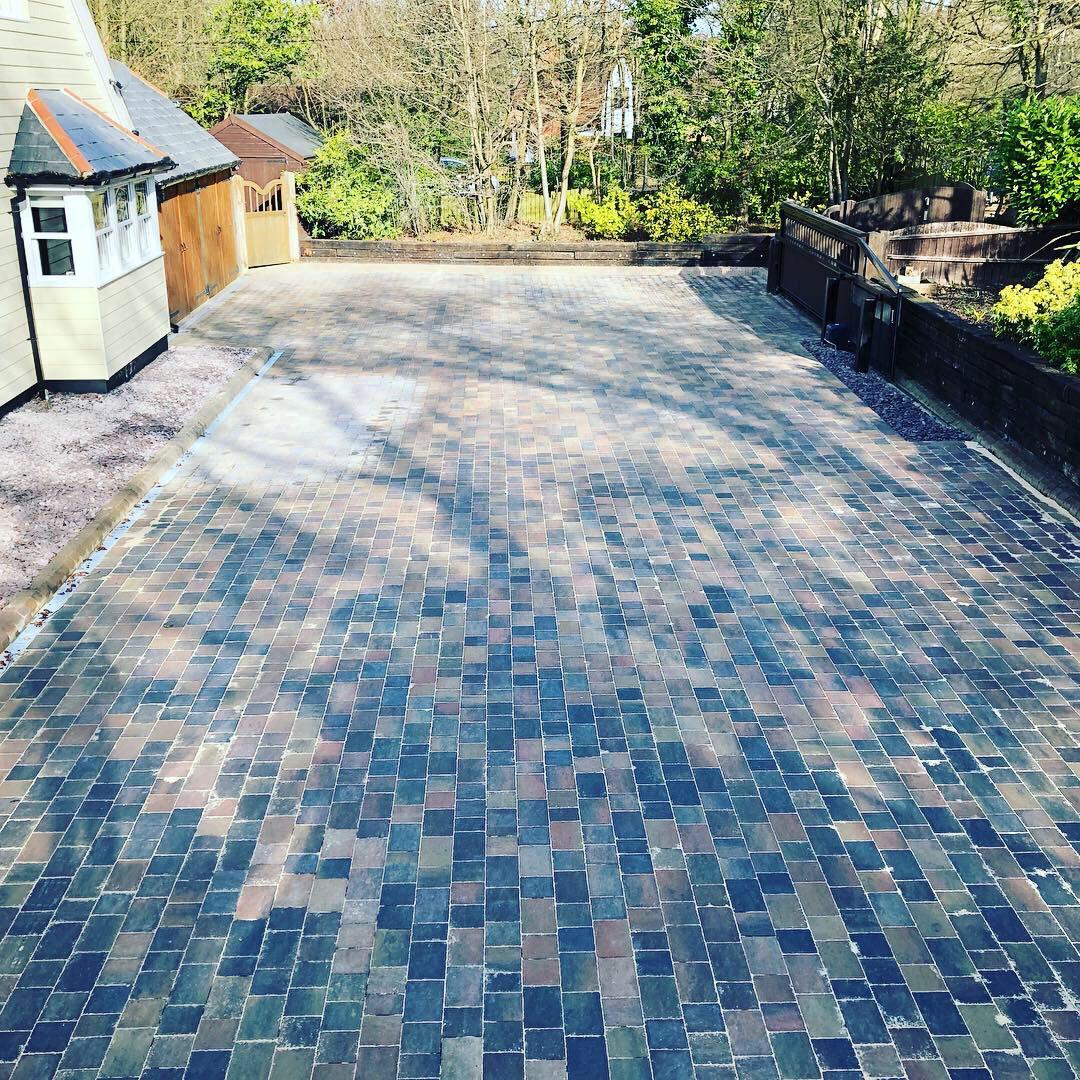 grey brick patio driveway